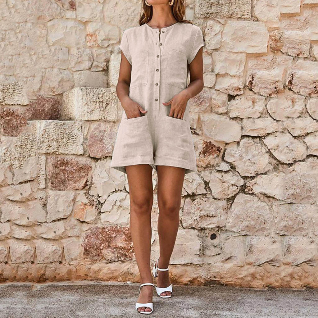 Women O-neckline Solid Short Sleeve Romper Pocket Button solid Playsuit Bohemian Casual Loose Jumpsuits