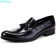 Luxury Designer Tassel Men Dress Shoes Italian Oxfords Genuine Leather Shoes Quality Cow Leather Slip On Formal Shoes