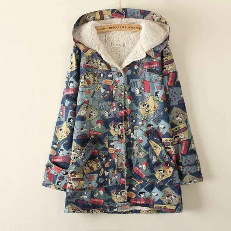 ФОТО 2017 Summer Autumn Women's Multiple Animal Cartoon Print Long Sleeve Hooded Thin Denim Jacket College Wind Mori Girl