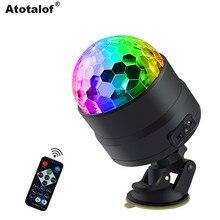 Atotalof USB LED בר שלב תאורת RGB מיני דיסקו כדור אור סאונד הופעל DJ מקרן מסיבת אורות לרכב בית KTV