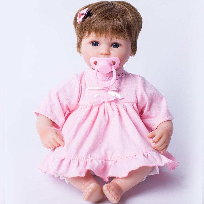 Réaliste Reborn bébé poupées avec noeud papillon rose collé perruque en Silicone doux coton 40 cm réaliste nouveau-né poupée à la mode fille cadeaux