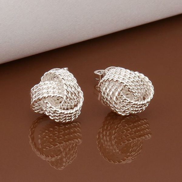 Round Shaped Braided Style Pendant and Stud Earrings