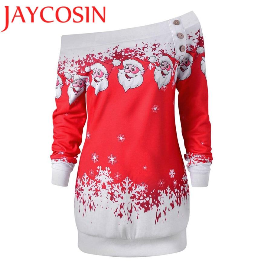 JAYCOSIN Womens Merry Christmas Santa Snowflake Print Tops Long Sleeve Long Blouse Shirt Dec 1 Dropship
