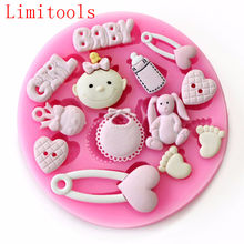 Baby Shower Party 3D Siliconen Fondant Mal Voor Taart Decoreren siliconen mal Fondant Cake sugar craft Moulds Gereedschap(China)