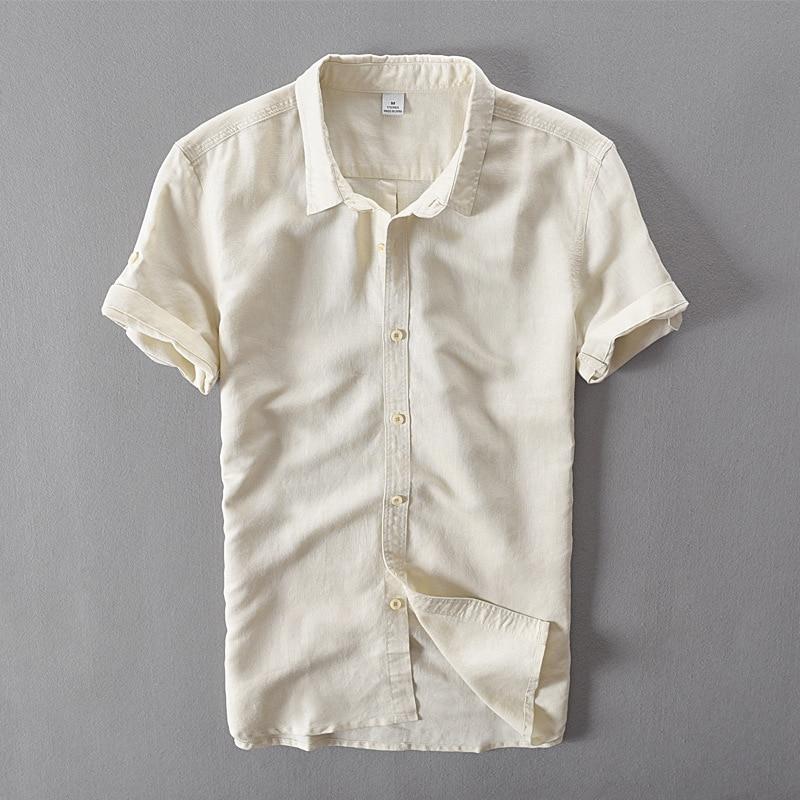 Itayle marca semplice moda kaki solido camicie di lino uomini manica - Abbigliamento da uomo