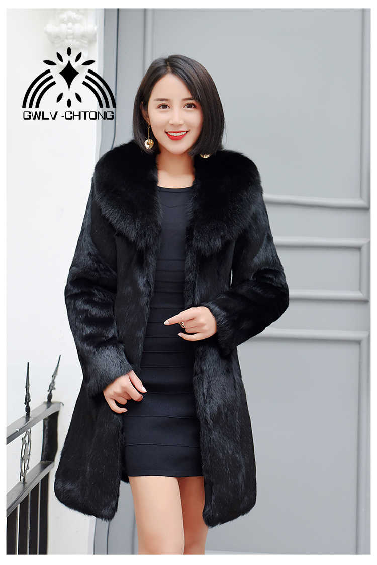 New Real natural full pelt rabbit fur coat with fox fur collar women long fashion whole skin genuine fur  jacket waistcoats