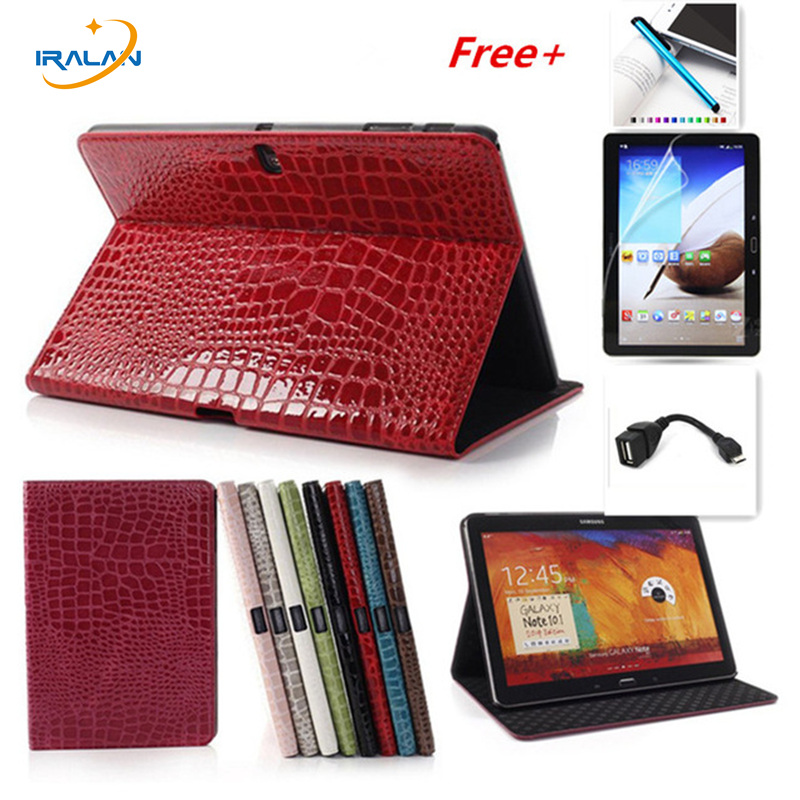 2018 new Luxury Crocodile Stand PU Leather case for samsung galaxy Tab S 10.5 T800 T805 ablet cover +stylus+film+ otg free original battery cover for samsung galaxy tab s 10 5 t800 t805 back cover battery door housing case replacement free shipping
