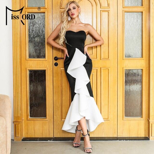 Missord 2019 Women Summer Sexy Off Shoulder Backless Dresses Female Ruffles Elegant Dress   FT19535