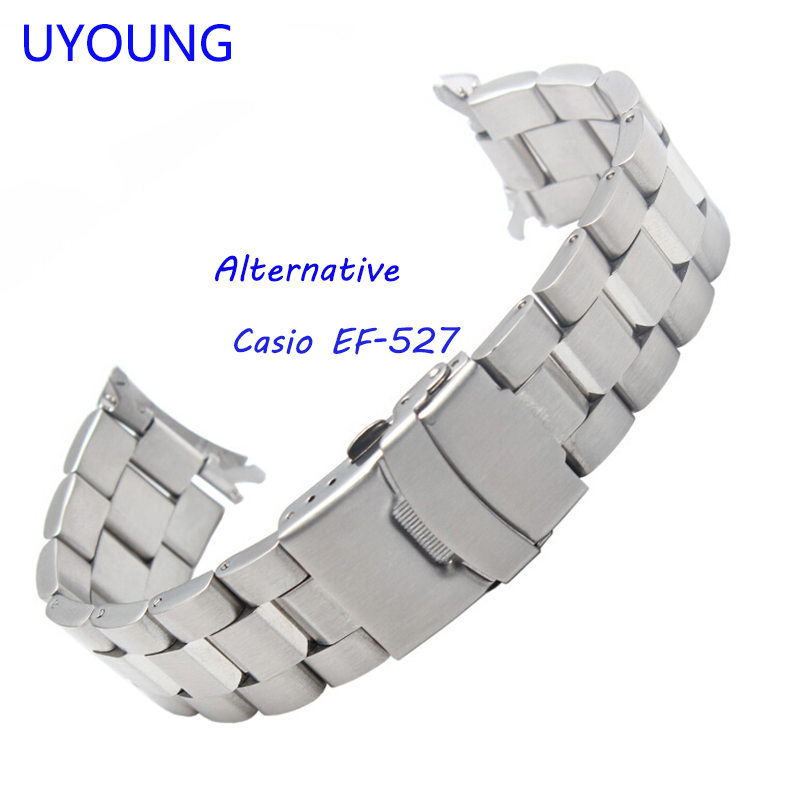 UYOUNG Watchband For Casio EF-527 Solid stainless steel Watch bands Bracelet Watch accessories Silver Strap uyoung watchband for casio prg 130y prw 1500yj watch bands black silicone rubber strap climbing bracelet