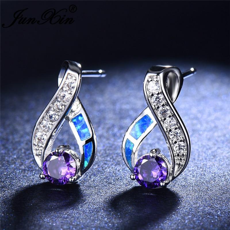 JUNXIN White Blue Fire Opal Earrings Female White Gold Filled Purple Zircon Crystal Stud Earrings For Women Infinity Earrings