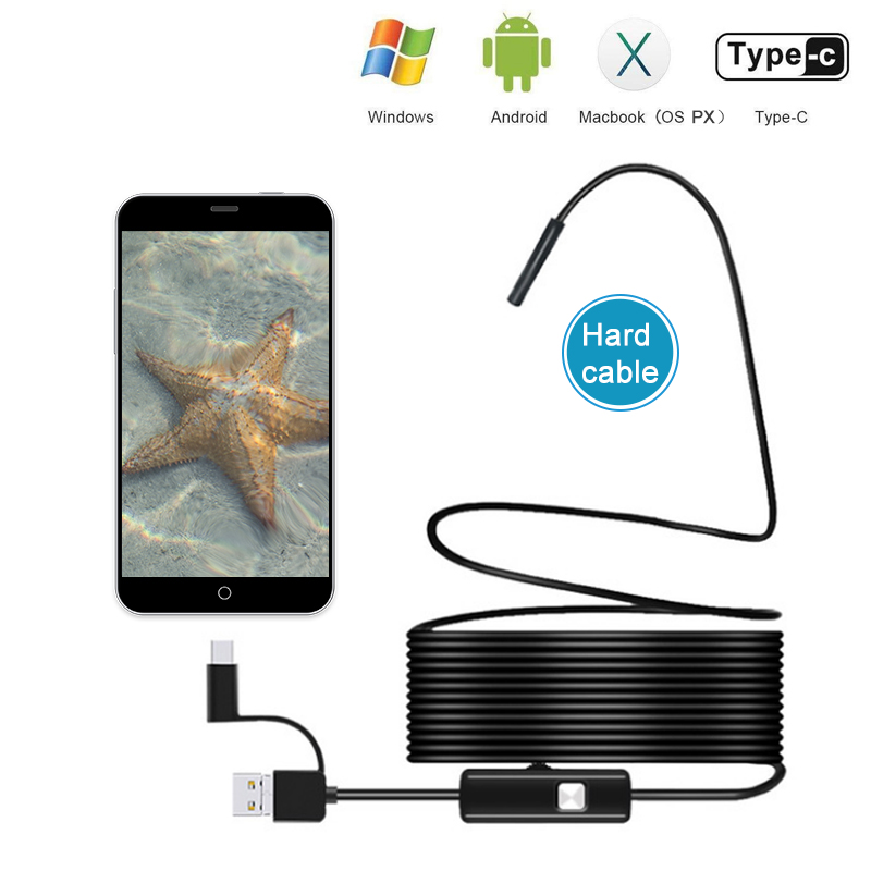 5.5mm USB Endoscope Camera 3 In 1 Android Endoscope With 6 LED Waterproof Inspection Borescope For Android PC Type C Endoscope