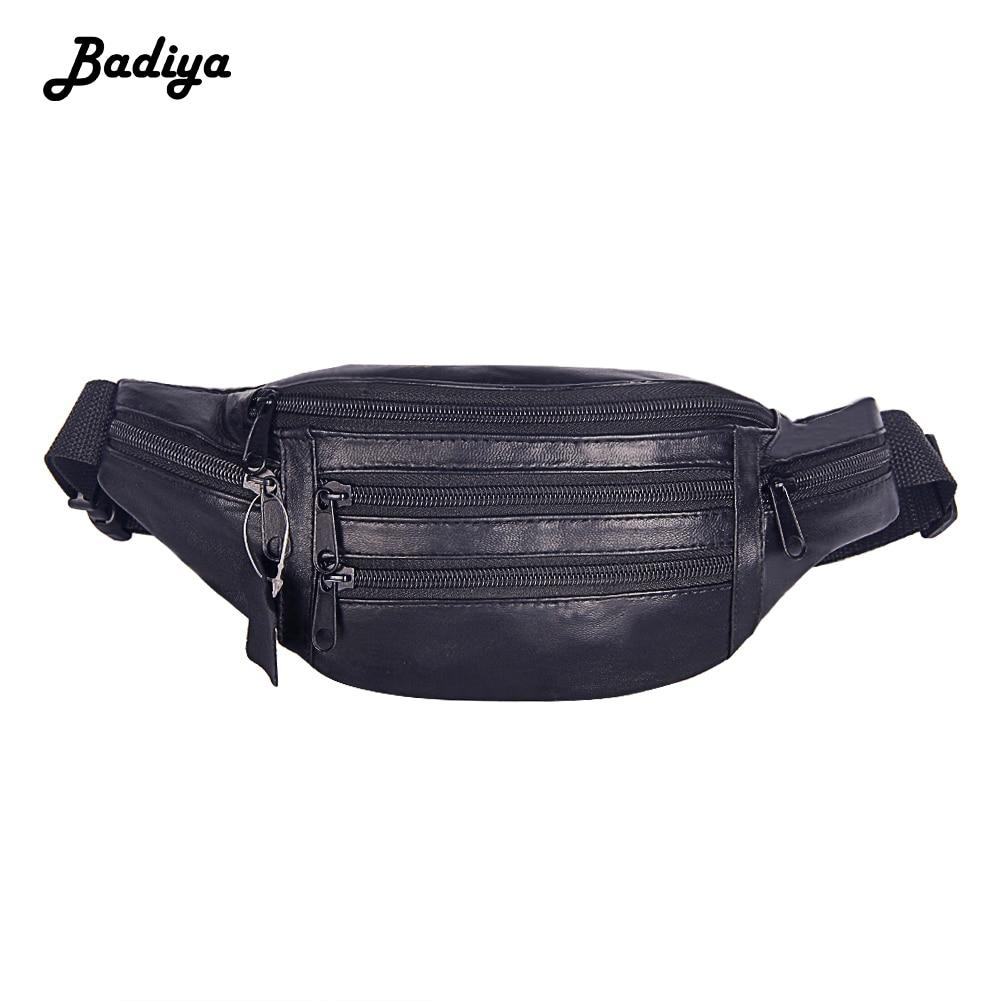Fashion Men Genuine Leather Waist Bag Solid Color Fanny Packs Adjustable Belt Belt Bag Shopping Waist Pack Travel Chest Bags