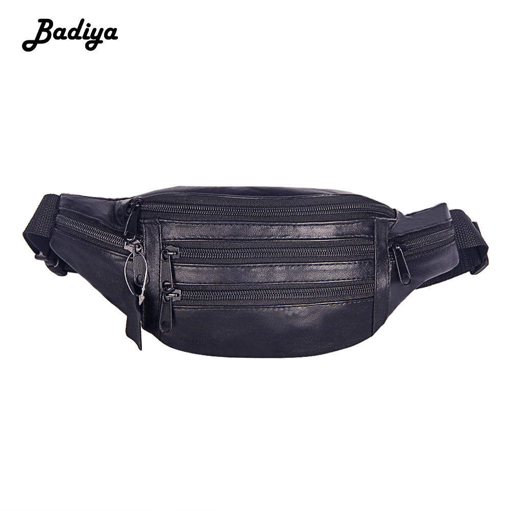 Fashion Men Genuine Leather Waist Bag Solid Color Fanny Packs Adjustable Belt Belt Bag Shopping Waist Pack Travel Chest Bags