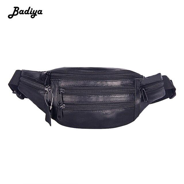 Homens da forma Genuína de Couro Fanny Saco Da Cintura Cor Sólida Cinto Ajustável Cinto Saco de Compras Sacos de Viagem Pacote de Cintura No Peito