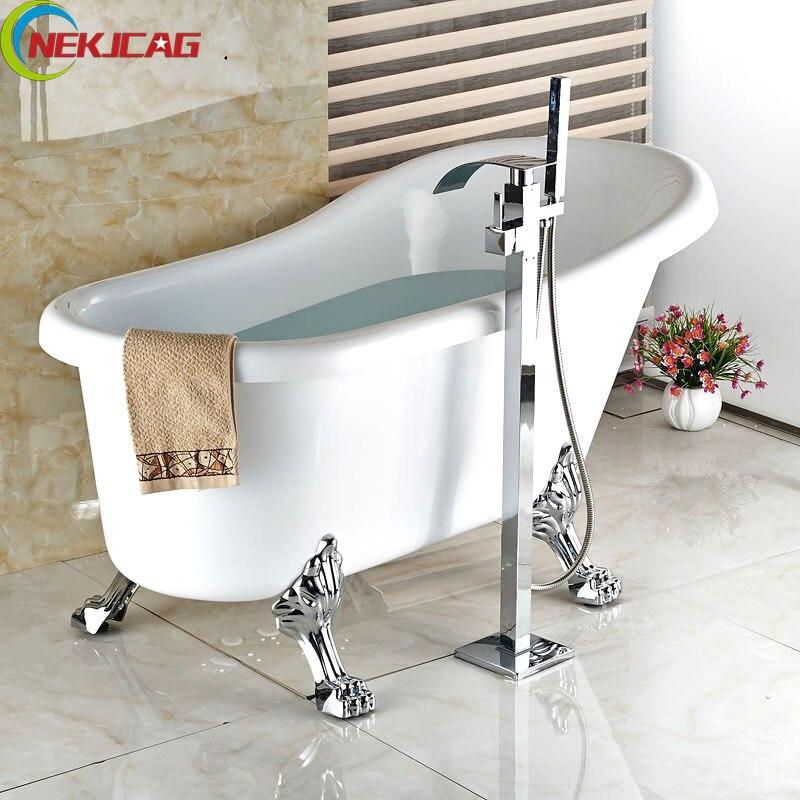 Pormotion Bathtub Faucet Chrome Polish Free Standing
