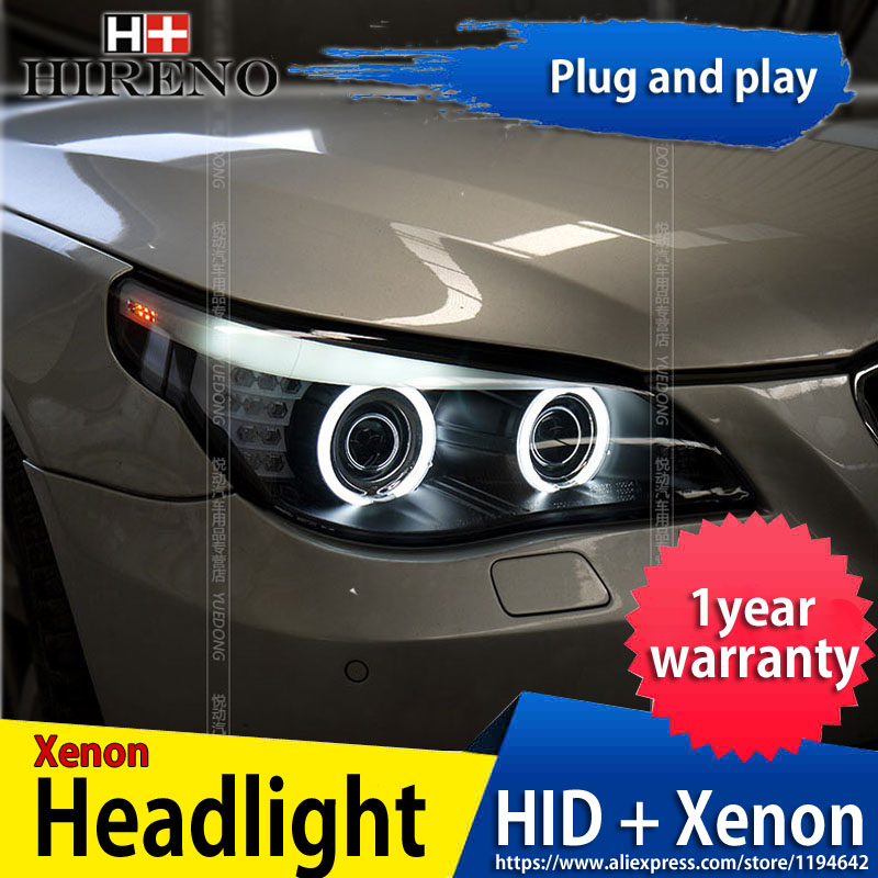Hireno Headlamp for BMW E60 520i 523i 525i 530i 2003-10 car Headlight Assembly LED DRL Angel Lens Double Beam HID Xenon 2pcs hireno car styling headlamp for 2003 2007 honda accord headlight assembly led drl angel lens double beam hid xenon 2pcs
