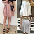2017 Harajuku Women Skirt Fashion Spring Summer Skirts Simple Solid Color High Waist Pleated Skirt Grey Skater Skirt For Women