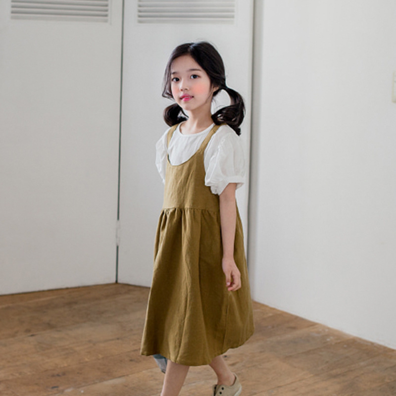 Summer New Fashion 2PCS Toddler Girl Kids Clothes Set White T-shirt Tops + Mustard Dress Suspenders Outfit Cotton Suit 2018 b a1785 new fashion 3 13t kids baby girls clothes set summer children short sleeve t shirt tops skirt 2pcs kids outfit suit