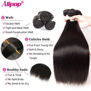 Image 2 - Alipop волосы перуанские прямые волосы пучки человеческие волосы пряди 3 пучка предложения Двойной Уток Remy наращивание волос естественный цвет