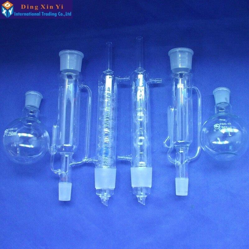 150 ml/250 ml/500 ml Corpo Extrator Soxhlet Condensador 45/50 Balão de Fundo Plano 24/40 Copos De Vidro De Laboratório kit de Vidro Transparente