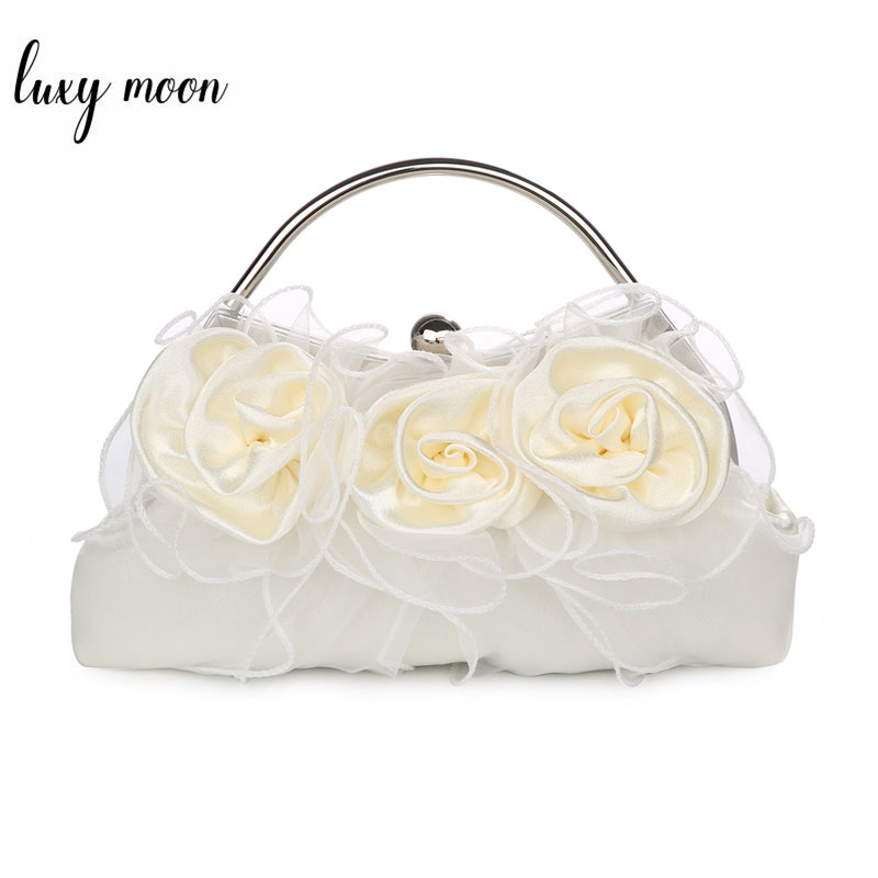 Flower Bags For Women 2019 Luxury Wedding Bridal Clutch Purses And Handbags New Elegant Shoulder Bag White Beige Bolso ZD1304