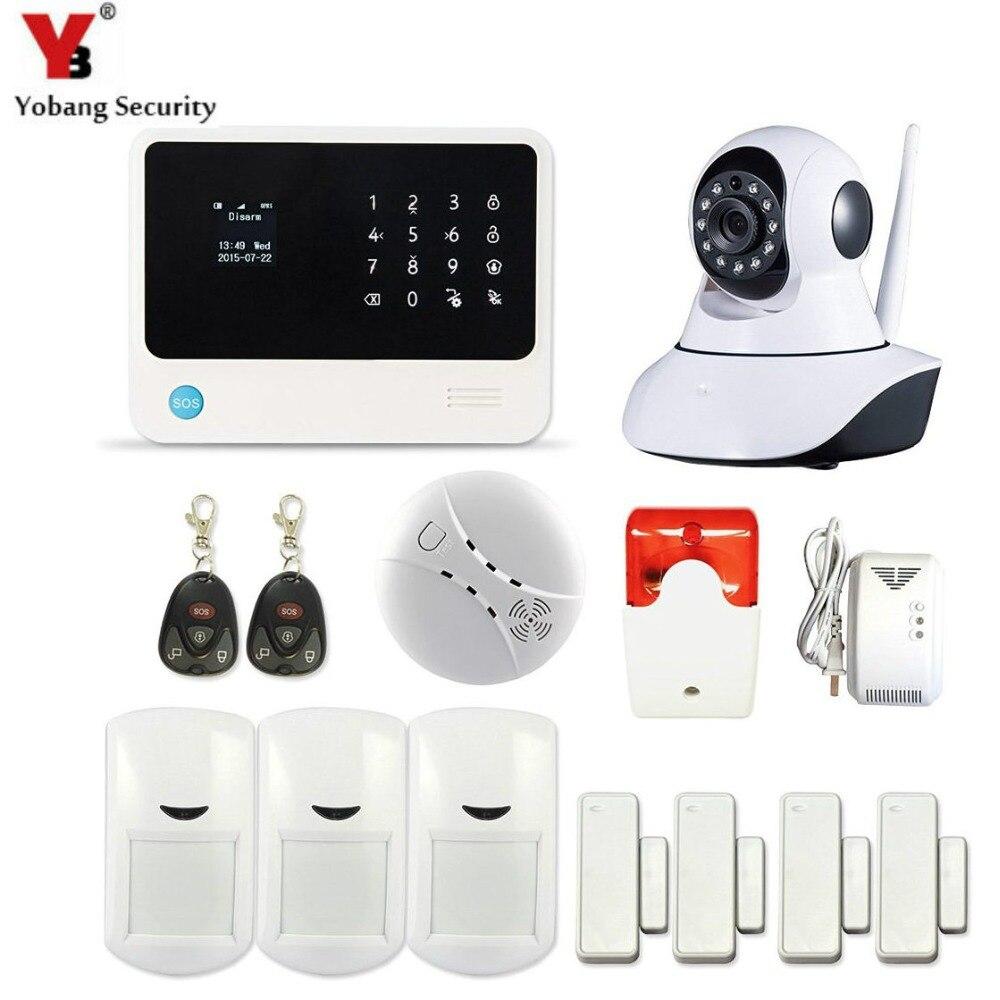 YobangSecurity WiFI sécurité à domicile système d'alarme écran tactile appel Mobile système d'alarme GSM avec caméra capteur de fuite de gaz sirène Flash