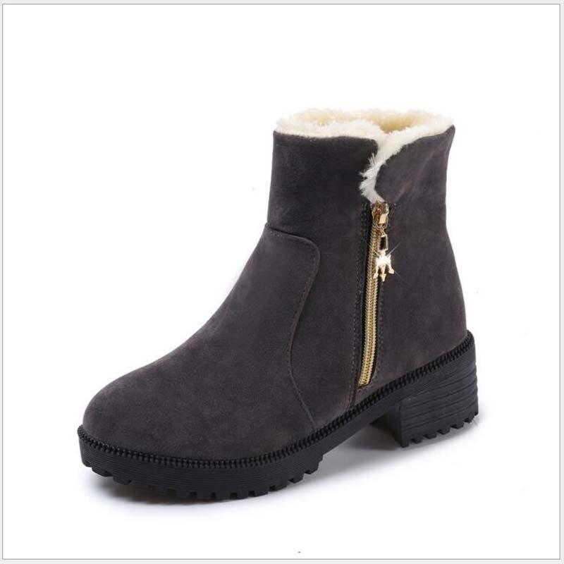 Non Carrés Botas Chaussures Imperméables Fourrure Mujer Femme gris Cheville Neige D'hiver Chaud glissement Noir vert Bottes Femmes Bota Talons Feminina qwgRPqE