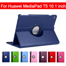 360 Rotating Litchi Flip Stand Leather Flip Cover For Huawei MediaPad T5 10.1 AGS2-W09/L09/L03/W19 10.1 inch Tablet Case slim business retro flip stand cover case for huawei mediapad m5 lite 10 case bah2 w09 bah2 l09 bah2 w19 10 1 tablet shell