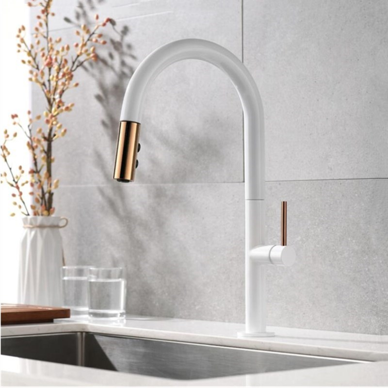 Chegou recentemente Pull Out Torneira Da Cozinha de ouro Rosa e Branco Sink Toque Mixer 360 graus de rotação cozinha torneiras misturadoras de Cozinha tap