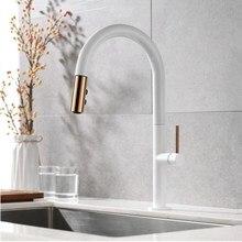 Neu Angekommene Pull Out Kitchen Wasserhahn Rose gold und Weiß Waschbecken Mischbatterie 360 grad drehung küche mischbatterien Küche tippen