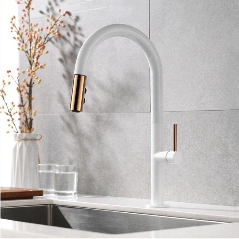 Nouvellement arrivé tirer sur le robinet de cuisine en or Rose et blanc évier mélangeur robinet 360 degrés rotation cuisine mélangeur robinets cuisine robinet