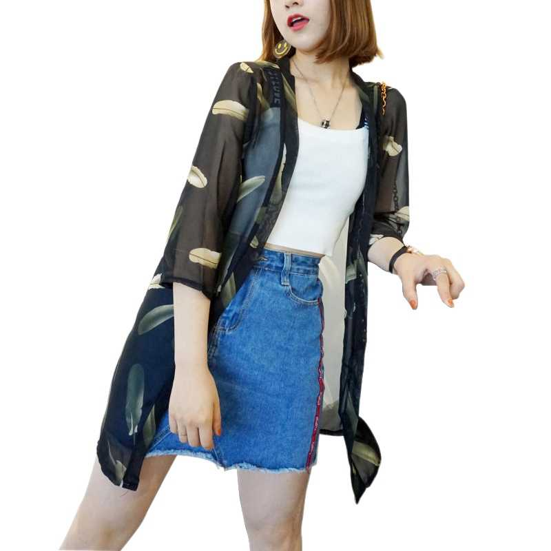 New 2018 Summer Women\'s Cropped Sleeve Print Long Kimono Cardigan Chiffon Blusas Jacket Casual Loose Sunblock Shirt W4