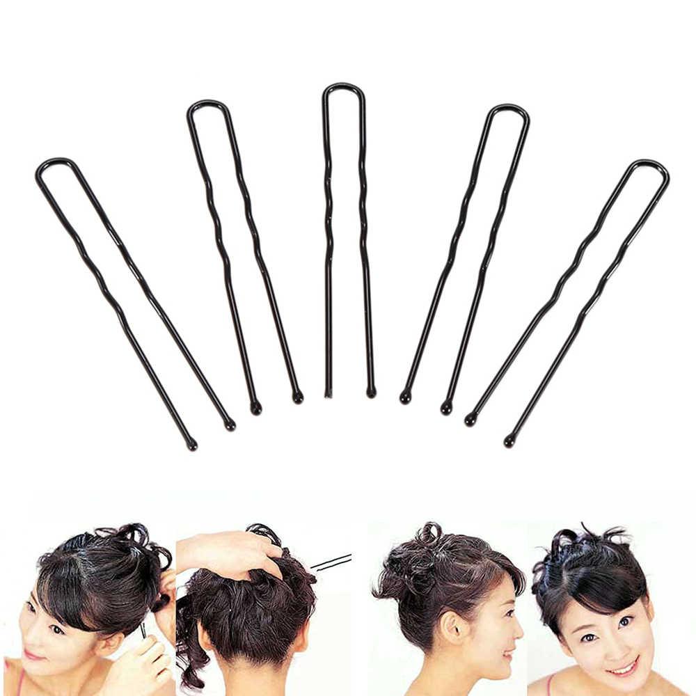 Horquillas onduladas en forma de U, conjunto de 50 unidades de horquillas negras a la moda, horquillas onduladas, horquillas para estilizar el cabello, herramienta para mujeres y niñas