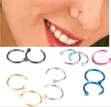 1 piece Medical Nostril Titanium Gold Silver Nose Hoop Rings clip on nose studs Body Fake Piercing Jewelry For Women pircing nez