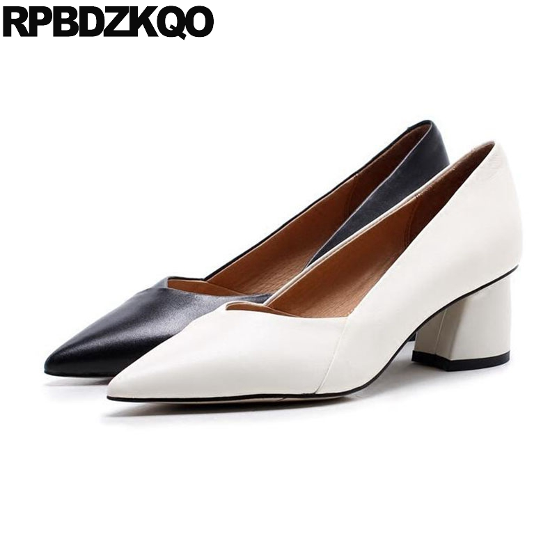 цены на Office Court Black Work Shoes Women Leather Top Quality Pointed Toe Genuine White Pumps 2018 Thick Size 4 34 Medium Heels в интернет-магазинах