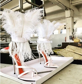 Sexy Pointed Toe Feather Sandals For Women 12 CM Thin High Heels Dance Shoes ladies Fur Sandals T Show Party Shoes 2019 White
