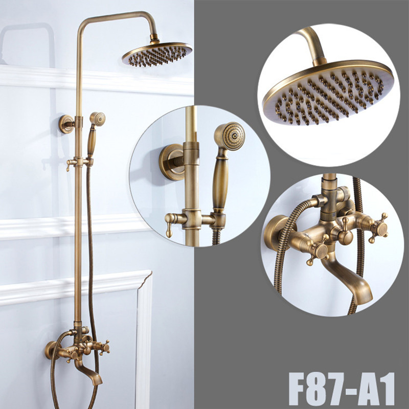 Senducs Luxury antique shower set with quality shower head and brass bathroom shower faucet by cheap price bath shower sets factory direct sale best price 8 brass head shower with hand shower bathroom shower faucet antique