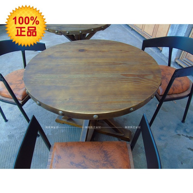 American French Retro Antique Wood Furniture Pine Round Table To Do The Old Style Coffee