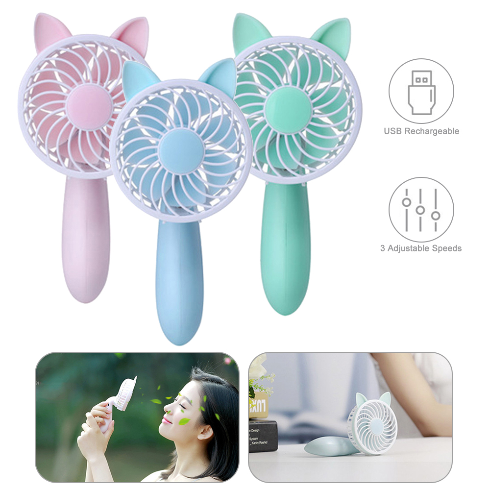 1pc Handheld Personal Mini Fan Desk USB Rechargeable Portable Cute Cooler Fan With Adjustable 3 Speed For Office Outdoor Travel