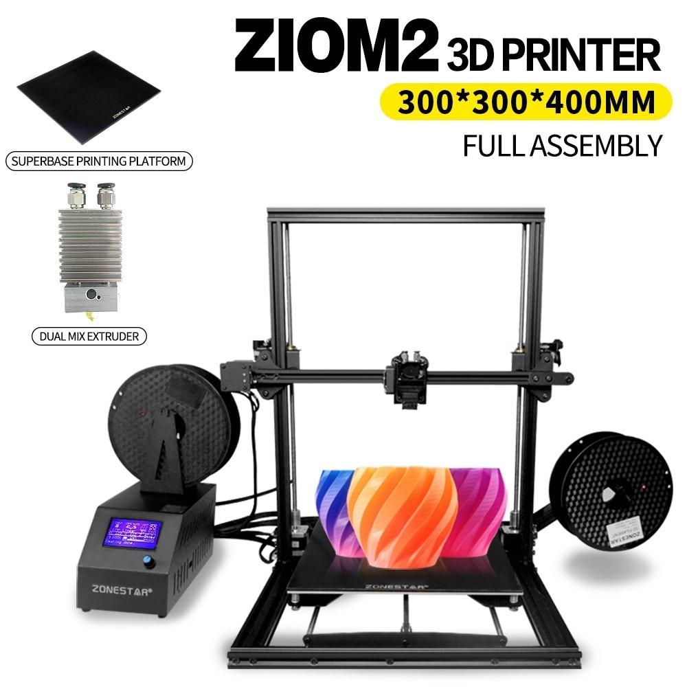 ZONESTAR Z10S Z10M2 imprimante 3d simple ou mélange extrudeuse grande taille d'impression 300*300*400mm Superbase entièrement assemblé