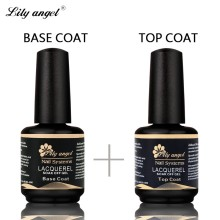 Lily angel Unhas de Gel Polonês Soak Off UV Laca 15 ml Top Coat + Base de Revestimento UV Gel Unha Polonês Primer