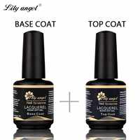 Lily angel Nail Gel Polish Soak Off UV Lacquer 15ml Top Coat + Base Coat UV Gel Nail Polish Primer