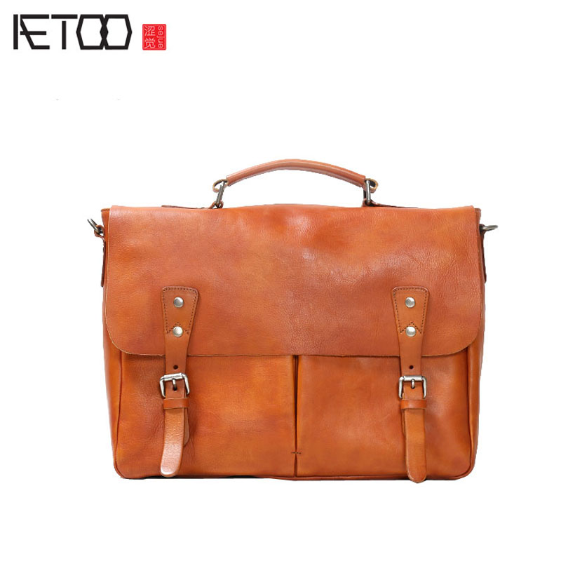 цены AETOO Leather handmade retro cowhide men postman bag head cowhide cross section portable shoulder bag male casual bag