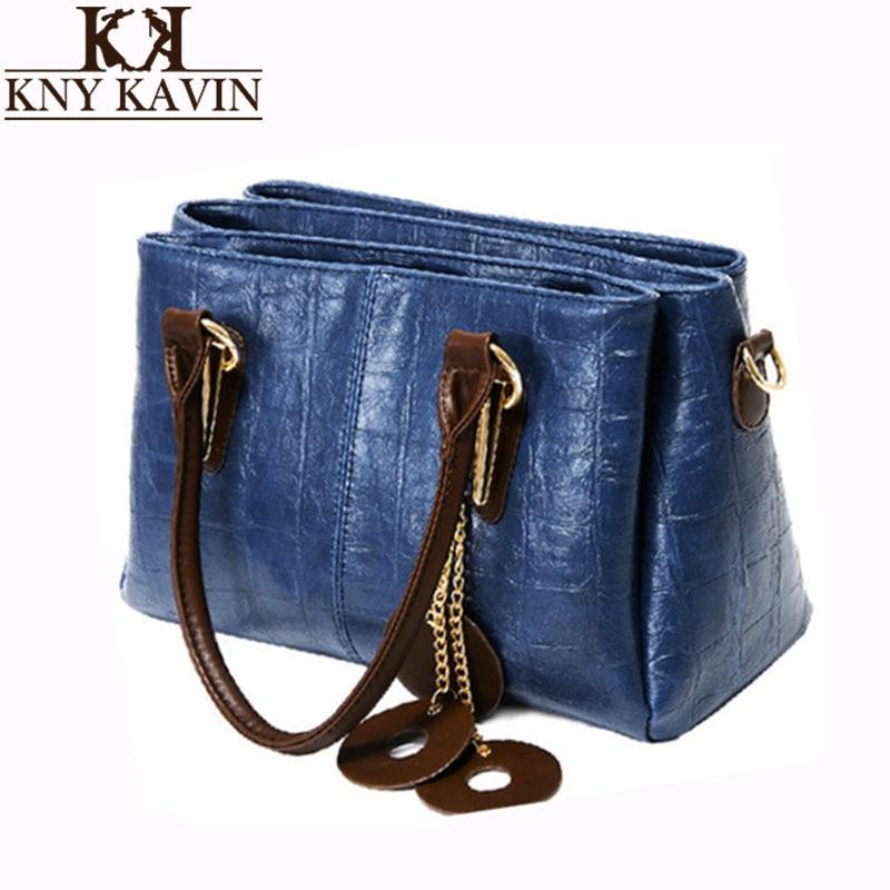KNY KAVIN KK Brand Handbag Fashion Women Tote Bag with a Pillow Bag High Quality PU Leather Shoulder Bag Solid Top-handle Bags