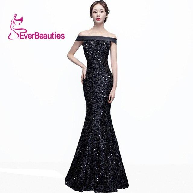 69e4b737c3 Sirena vestido de noche largo negro lentejuelas elegante Fiesta Vestidos  2019 Vestidos Para Fiesta Largos Mujer