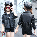 2017 New Children's Clothing Kids Girls Black Pu Leather Coat With Tassel Long Sleeve Cool Locomotive Coat Children Jackets