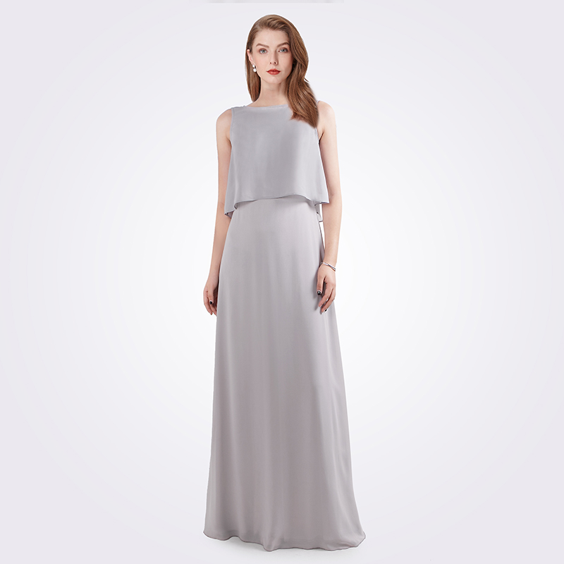Robe De  Soiree Longue 2019 Women's A-line Sleeveless Chiffon O-neck Grey Cheap Formal Party Gowns EB07632 Elegant Evening Dress