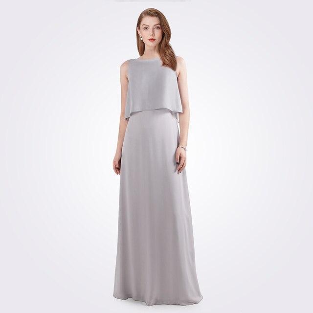 גלימת דה Soiree לונג 2020 נשים אונליין שרוולים שיפון O צוואר גריי זול צד פורמלי שמלות EB07632 אלגנטי שמלת ערב
