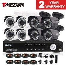 Tmezon 8CH AHD DVR 8 pcs 2.0MP 1080 P Caméra de Sécurité de Surveillance Système CCTV Extérieur Étanche IR Night Vision 1 TB 2 TB HD Kit