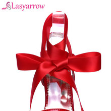 Lasyarrow Sexy Women Shoes Open Toe Lace up Heels Sandals Woman sandals Thin Heels Shoes Platform Cross-tie shoes Female RM062